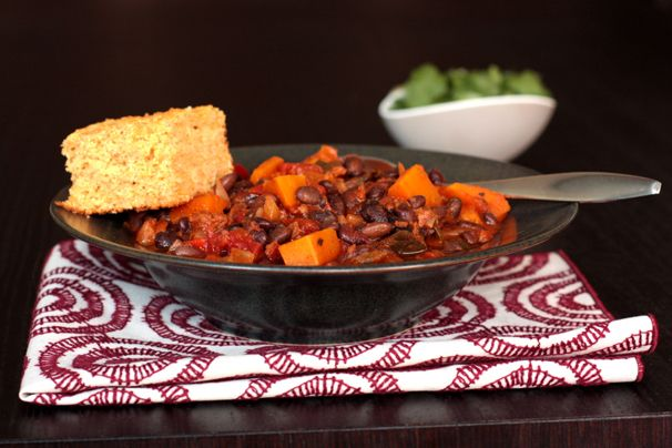 Black bean chili with butternut squash // i used sweet potatoes ...