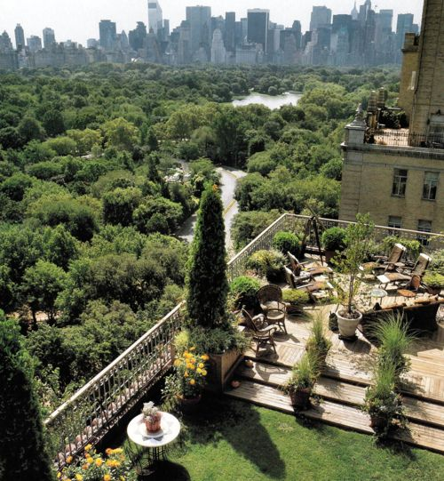 A patio's West Side view over Central Park, NYC's backyard.