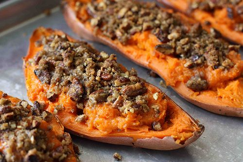 Twice Baked Potato with Chipotle Pecan Streusel