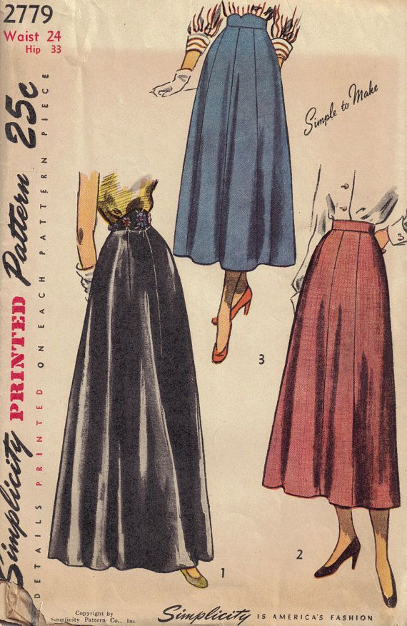 vintage 1940s simplicity 2779 sewing pattern maxi length