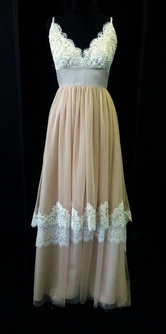 Blush Pink Lace Boho Wedding Dress