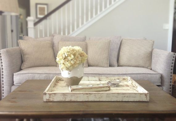 Coffee Table Or Ottoman Tray Large Rustic White By Shabbyfresh