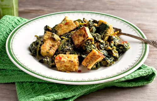 Hearty, spicy #Meatless Monday meal: Indian Tofu & Spinach