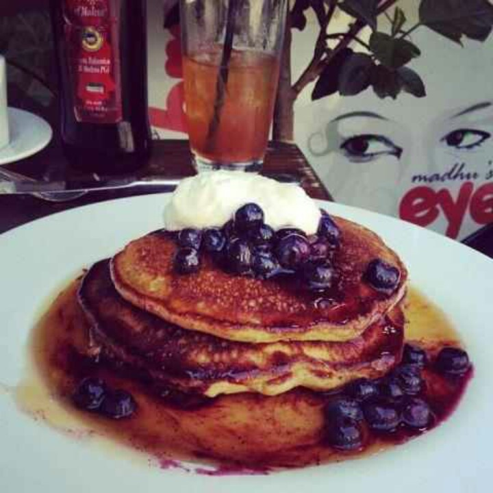 Olive oil, Pancakes with Blueberry Compote, Lemon Ricotta, Maple Syrup ...