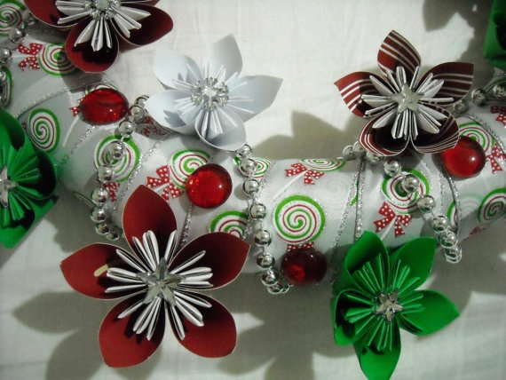 Origami flower christmas wreath thinking about christmas pinterest