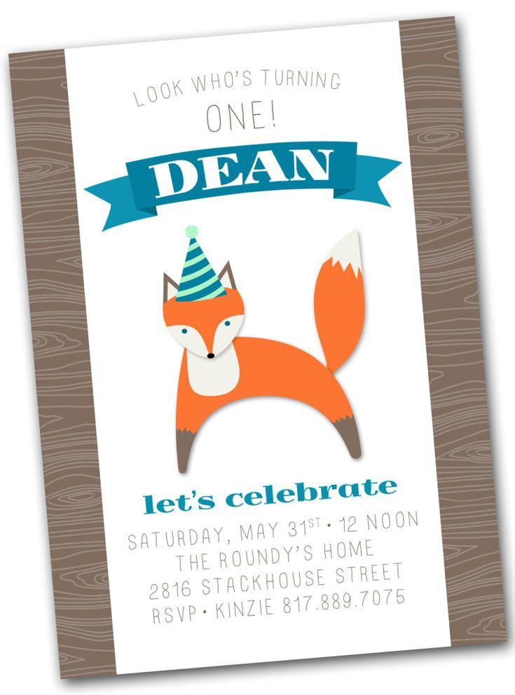 Fox Birthday Party Invitation