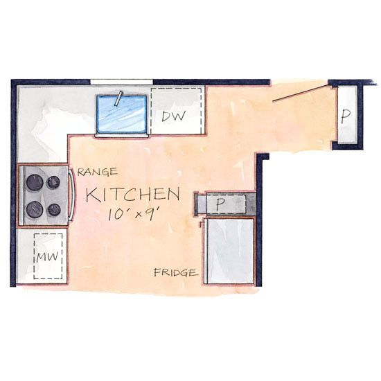Tight efficient layout floor plan interior design for Efficient kitchen layout