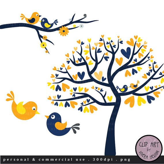 Digital Clip Art - Love Birds in Navy Blue and Yellow
