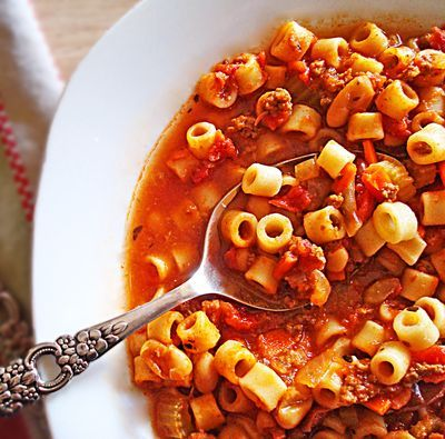 Pasta fagioli in a slow cooker