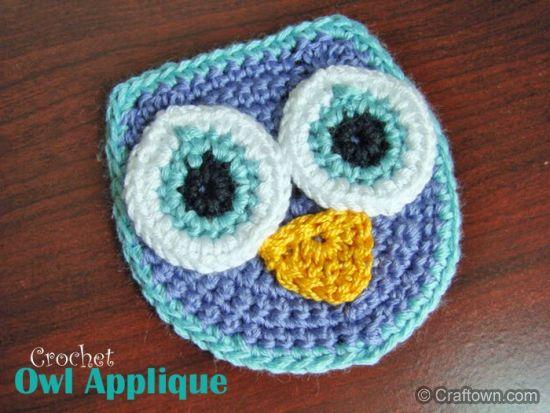 Little Owl Free Crochet Pattern : Free Crochet Pattern - Owl Applique DIY Projects - Sew ...