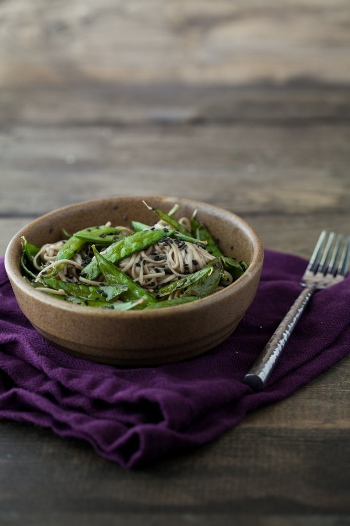 Roasted Snap Peas and Soba Noodles with Honey Soy Dressing | Recipe