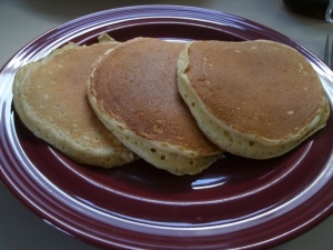 This morning's breakfast - Eggnog Pancakes with Bourbon Maple Syrup