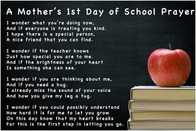 1st day of school (this goes for my senior who will be college-bound ...