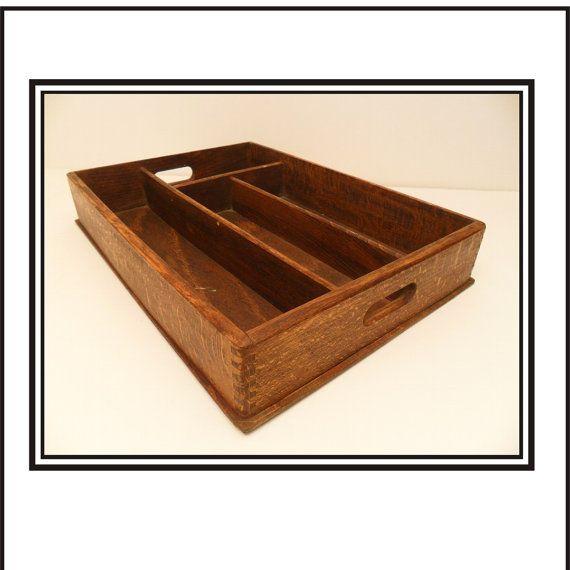 Old Wooden Desk Organizer