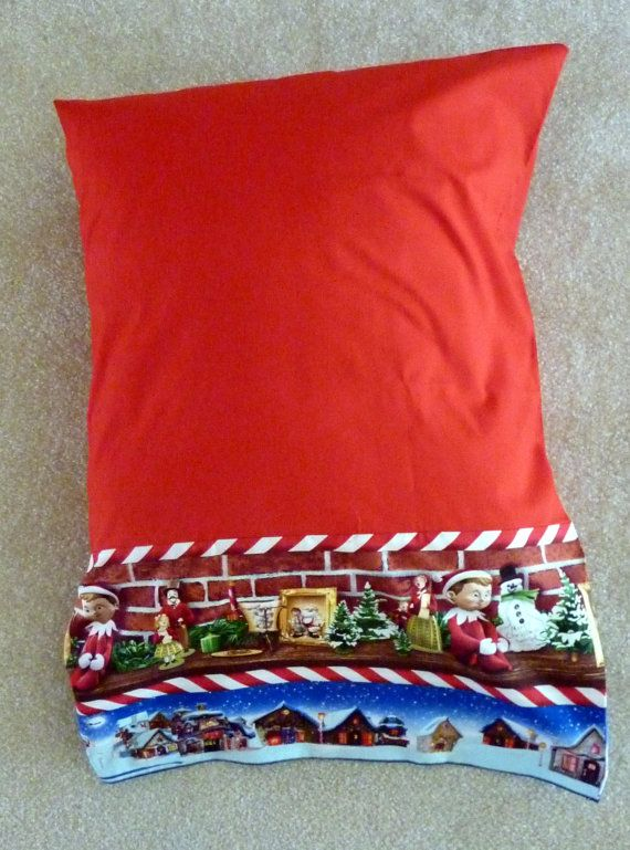 Elf on the Shelf Border on Red Pillowcase on Etsy, $17.50
