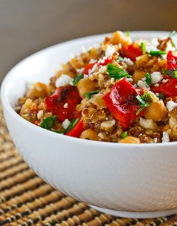 Roasted Red Pepper and Feta Quinoa Salad A warm whole-grain salad with ...