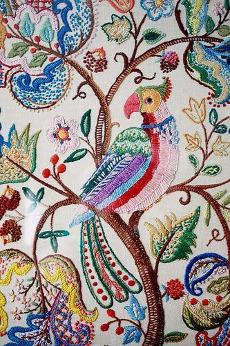 Bird and paisley embroidery