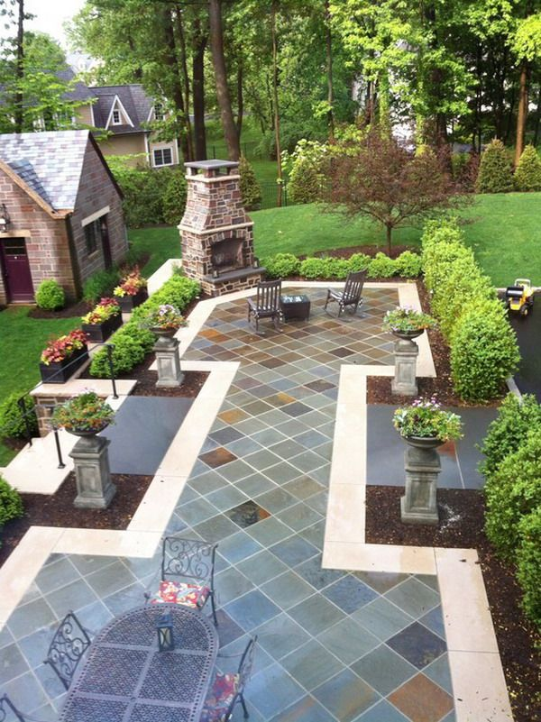 Natural blue patio stone ideas for the home pinterest for Small stone patio ideas