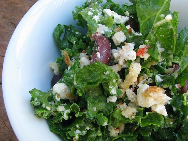 Raw kale salad with garlic feta dressing | Kale | Pinterest