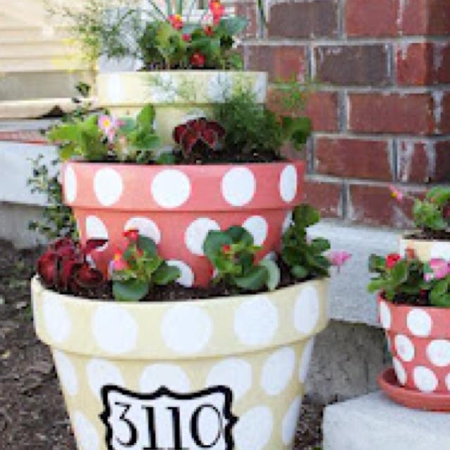 Stacked Flower Pots Cute Idea Yard Ideas Pinterest