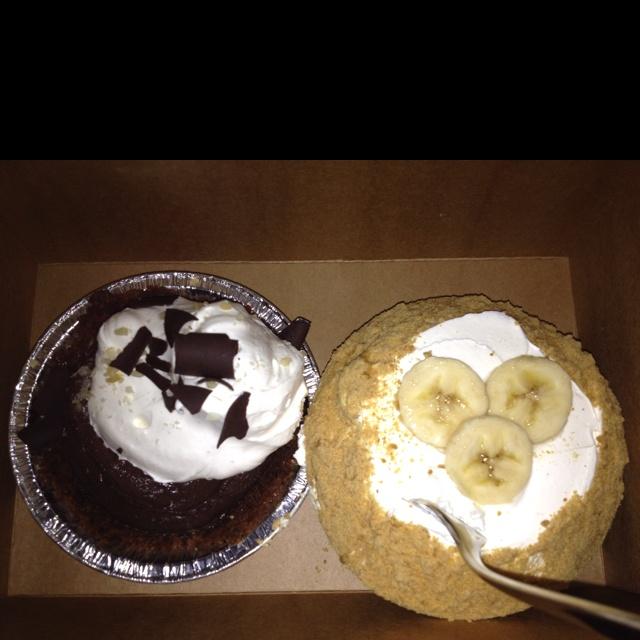 Chocolate Macademia Truffle Pie & Banana Cream Pie from Leoda's