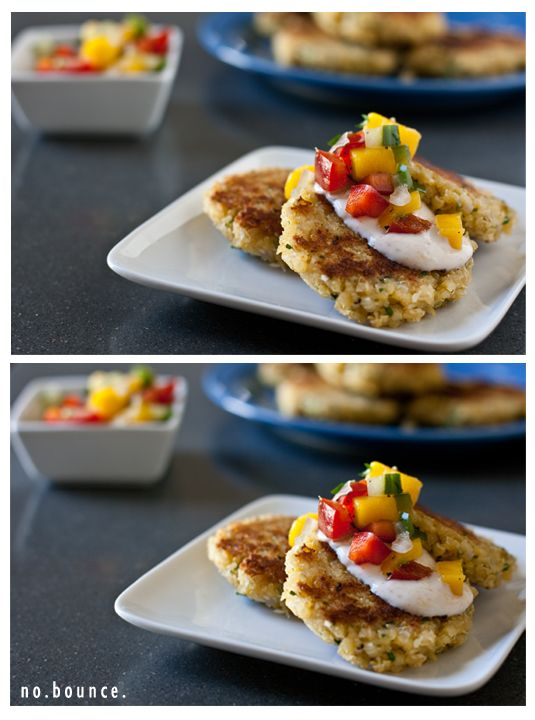 Coconut quinoa patties with mango salsa from Edible Perspective