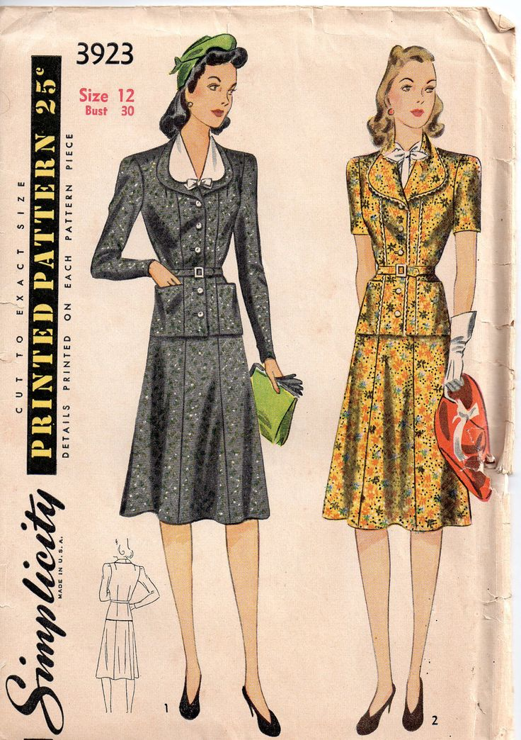 vintage 1940s simplicity dress sewing pattern