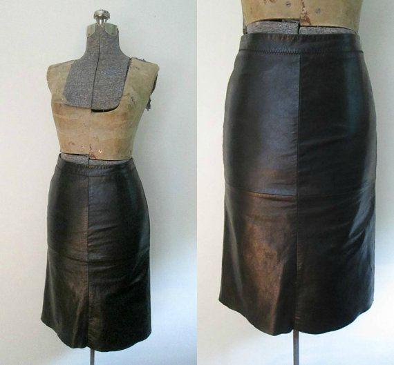 bodycon black leather skirt gap vintage 1990s