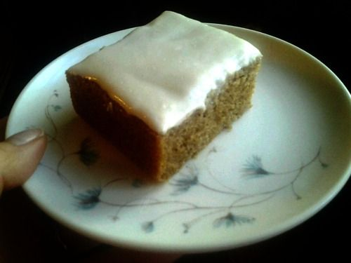 Gluten Free Spice Cake with Low-Fat Cream Cheese Frosting!