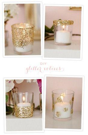 porta velas con glitter