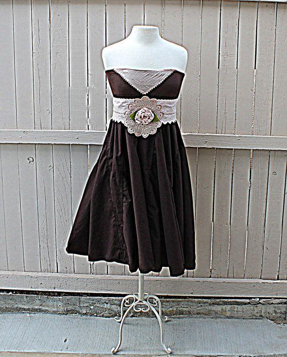 Bandeau Women's Upcycled Dress / Romantic Gypsy Clothing / Sash Belt