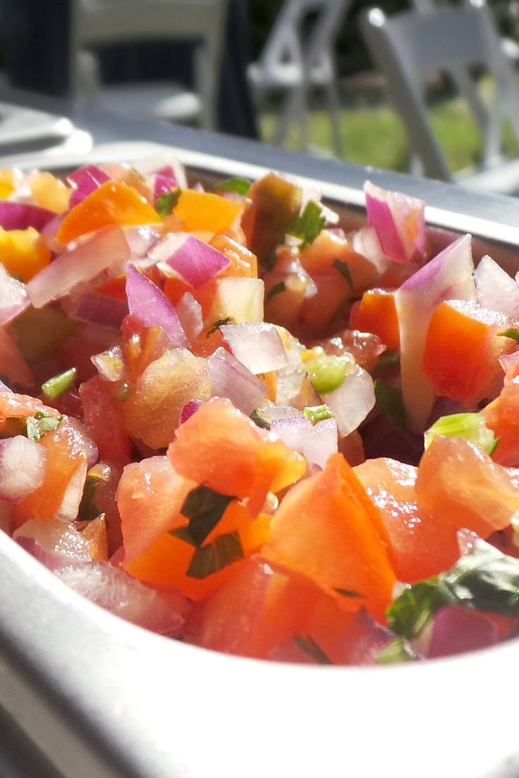 in the daylight, our pico de gallo made with vibrant heirloom tomatoes ...
