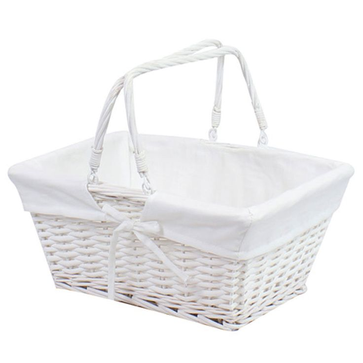 Storage handle white traditional vintage wicker weave box by jvl