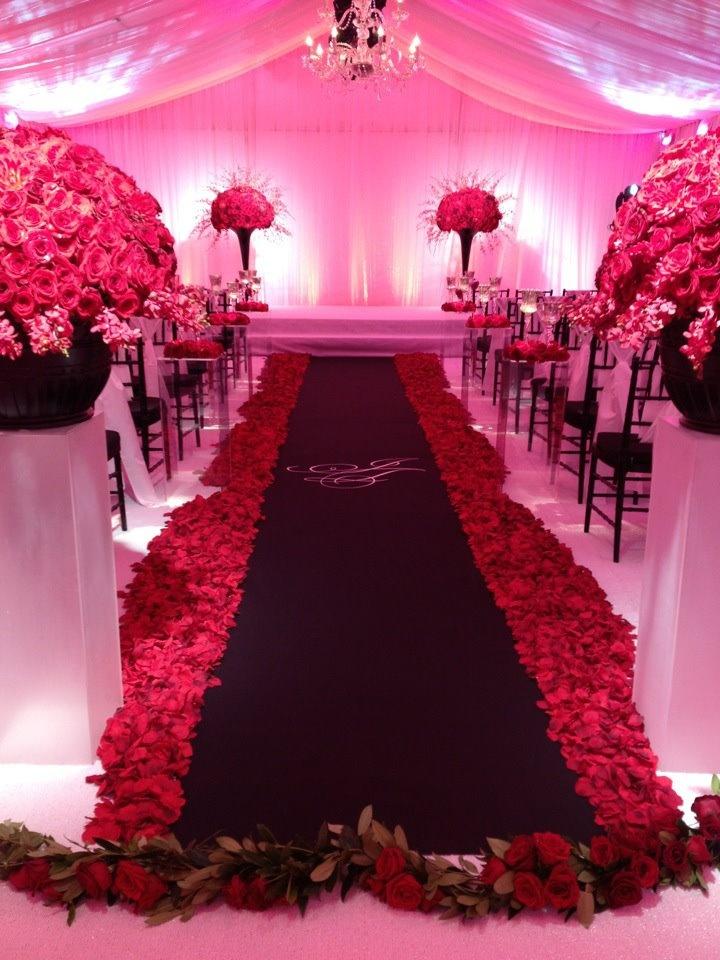 all red black white wedding this past season the custom aisle runner