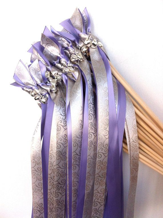Metallic Foil Streamer Wands : 100 Wedding Wands One Solid Ribbon and One Metallic Roccoco Print Ri