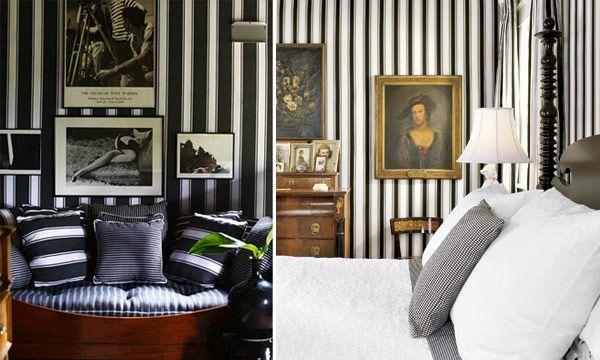 decoração listras preto branco