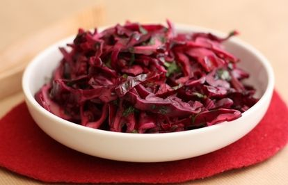 Red cabbage coleslaw with pomegranate molasses
