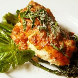 Chicken stuffed with herbed goat cheese and topped with a basil tomato ...
