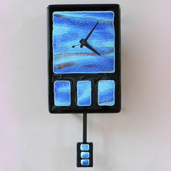 Stormy seas fused glass pendulum wall clock for Fused glass wall clocks