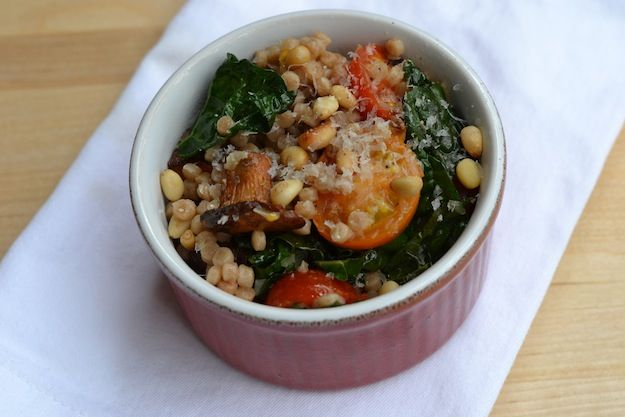Warm Israeli Couscous Salad with mushrooms, kale tomatoes, and toasted ...