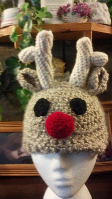 Rudolph the Red Nose Reindeer hat | HBA Crochet | Pinterest