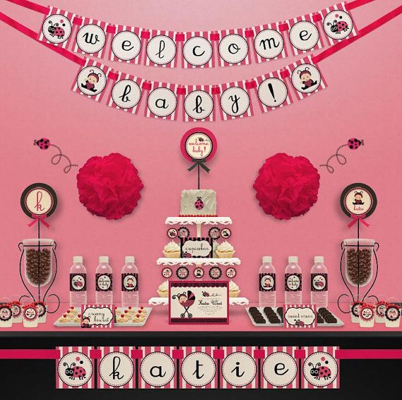 pink ladybug baby shower party package personalized by leelaaloo 20