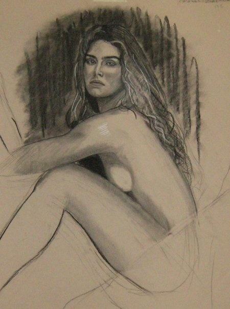 Brooke Shields,drawing by Paul Davison
