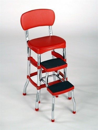 NEW Cosco Red Retro Counter Chair Step Stool Folding Kitchen Bar Home…