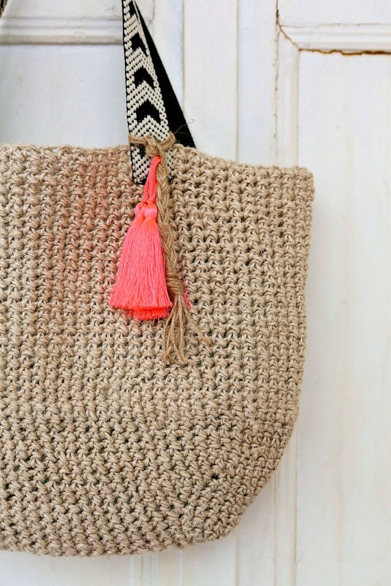 Hemp Crochet Weekend Neon Tassel Tote Bag by PINKJALUZI on Etsy, $39 ...