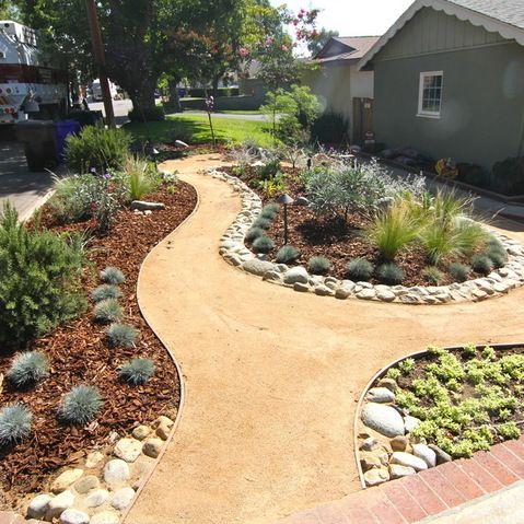 Grassless low water front yard pinterest for Grassless garden designs