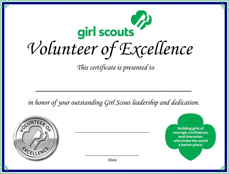 certificate for troop volunteers girl scout stuff