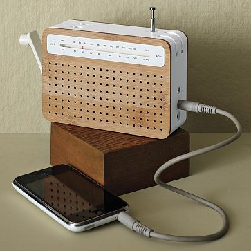 Safe Radio from West Elm. Recharges with a hand crank and can connect to an iPod/iPhone.