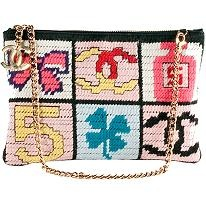 Chanel Precious Symbols Needlepoint Shoulder Handbag