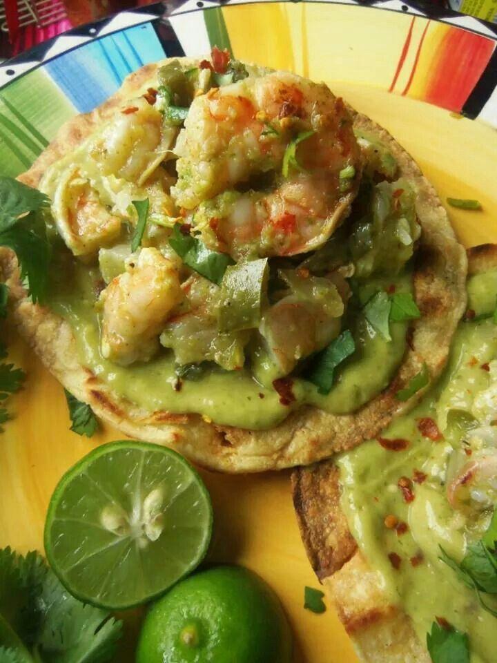 Shrimp tostada with avocado tomatillo salsa